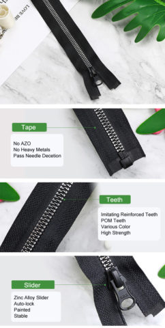 Plastic Zipper With Imitating Reinforced Teeth 3
