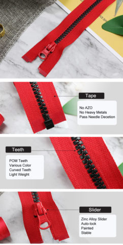Light Plastic Zipper With Curved Teeth 3