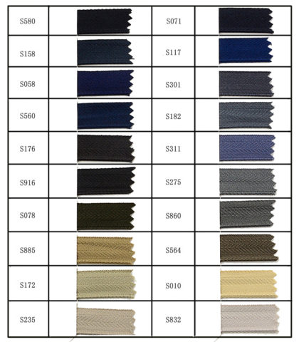 Standard Tape Color for Jeans Zipper3